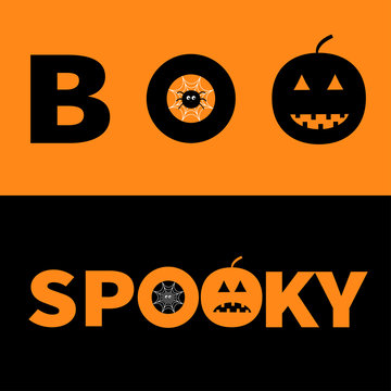 Word BOO SPOOKY text with smiling sad black pumpkin silhouette. Spider net insect. Round cobweb Banner lettering set. Happy Halloween. Greeting card. Flat design. Orange background.