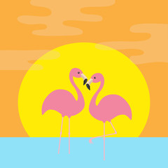 Two pink flamingo standing on one leg. Ocean, see water wave, sun set. Exotic tropical bird. Zoo animal collection. Cute cartoon character. Love Flat design. Orange background.