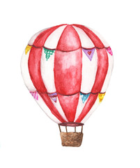 Watercolor hot air balloon illustrations isolated on white background. Hand drawn vintage air balloon flying in the sky.