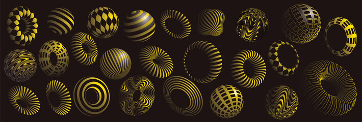 black and yellow 3d shapes vector set