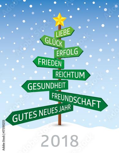 2018-Frohes neues Jahr im Weihnachtsbaum\