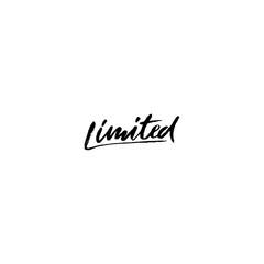 Limited. Ink handwritten lettering. Modern dry brush calligraphy. Typography poster design. Vector illustration.