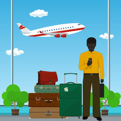 African American Man with Luggage against the Background of a Take-off Airplane at the Airport , Business Tourism , Vector Illustration