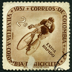 Aluminium Prints Bicycle COLOMBIA - 1957: shows Cyclist, Seventh Bicycle Tour of Colombia, Extra Rapido
