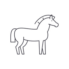 horse vector line icon, sign, illustration on white background, editable strokes