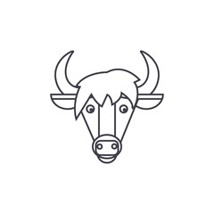 horse head vector line icon, sign, illustration on white background, editable strokes