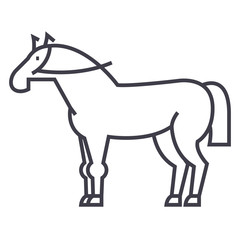 horse sign vector line icon, sign, illustration on white background, editable strokes