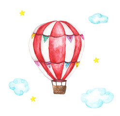 Watercolor hot air balloon, clouds and star illustrations isolated on white background. Hand drawn vintage air balloon flying in the sky.