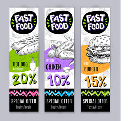 Fastfood colorful modern banners set. Bright Cool food sketches composition. Fast food labels. Special offer. Tasty fresh. Hand drawn vector illustration.