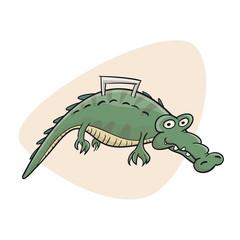 sketchy illustration of a living crocodile bag