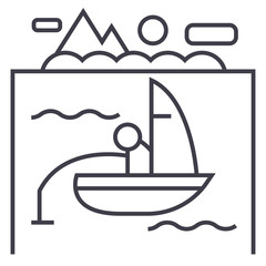 lake, fishing on boat vector line icon, sign, illustration on white background, editable strokes