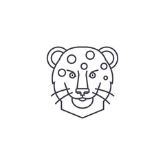leopard head vector line icon, sign, illustration on white background, editable strokes