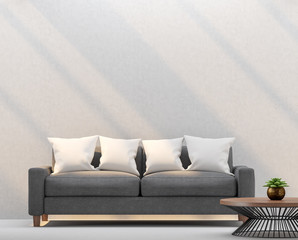 Modern living room and empty walls with sunlight shining through 3d rendering image.There are empty white wall plaster,Furnished with dark gray fabric sofa,wood and black steel table