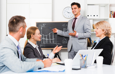Businessman presenting new strategy to partners