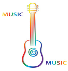 Hand draw colorful guitar on white background for your music poster design, stock vector illustration