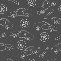 Car service. Seamless texture on a gray background.