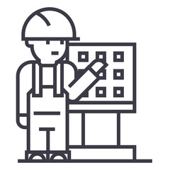 master,foreman,engineer with machine tool vector line icon, sign, illustration on white background, editable strokes