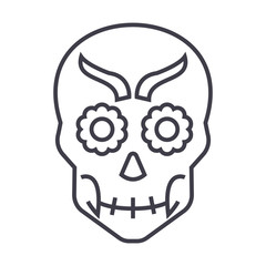 mexican skull vector line icon, sign, illustration on white background, editable strokes