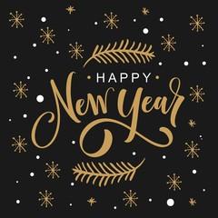 Hand drawn greeting card - Happy New Year
