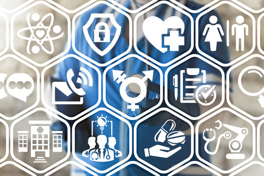 Transgender Healthcare concept. Doctor using virtual interface with transgender (combining gender) symbol icon.