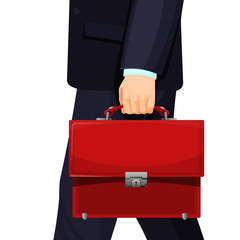Realistic picture of man with budget briefcase vector illustration