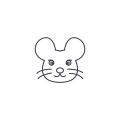 mouse head vector line icon, sign, illustration on white background, editable strokes