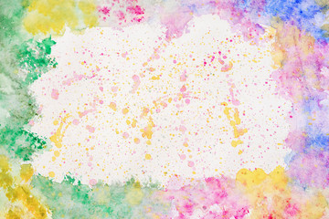 Colorful rainbow border for text or banner, card, template, design, formed by hand painted with bright blots, splashes of watercolor on paper. Abstract background