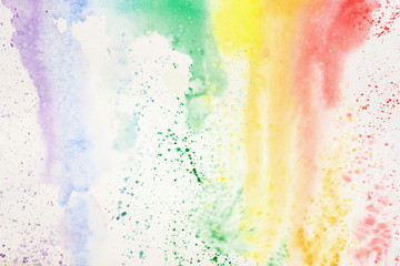 Abstract colorful watercolor hand drawn image, for splash background, colorful shades on white. Rainbow colored spot, hand drawn image. Artwork for creative banner, design