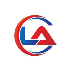 la logo vector modern initial swoosh circle blue and red