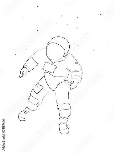 A Simple Minimal Line Drawing With An Astronaut In Space Floating