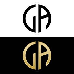 la initial logo circle shape vector black and gold