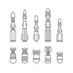 Set of Military Missiles and Ammunition,Silhouette Offensive Missiles Carrying Warheads, Black and White Vector Illustration