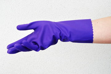 purple household rubber glove