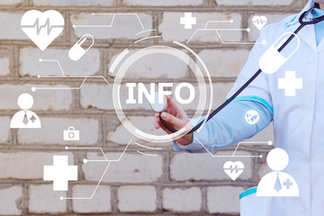 Wall Mural - Doctor pushing button info information virtual healthcare web network icon medicine.