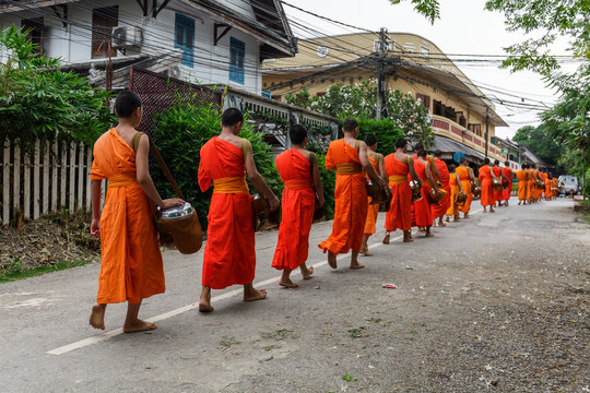 Buddhist monks in a line in Luang Prabang, Laos