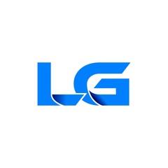 lg logo vector. lg logo initial vector modern blue fold style