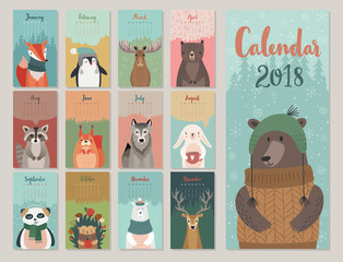 Wall Mural - Cute monthly calendar with forest animals.