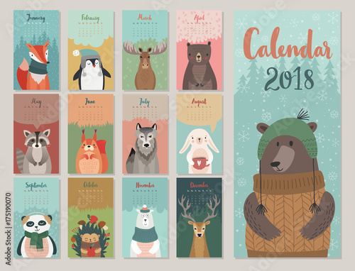 Wall mural Cute monthly calendar with forest animals.