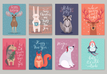 Wall Mural - Christmas animals card set.