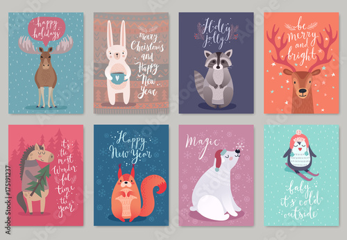 Wall mural Christmas animals card set.