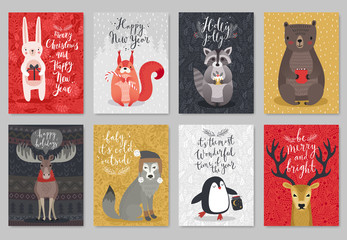 Fototapete - Christmas animals card set