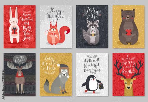 Wall mural Christmas animals card set