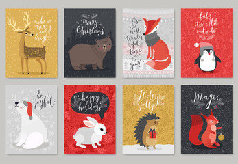 Wall Mural - Christmas animals card set