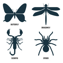 Butterfly and dragonfly, scorpio and spider on vector illustration
