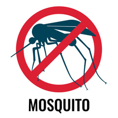 Anti-mosquito label depicting fly in circle vector illustration