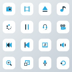 Media Colorful Icons Set. Collection Of Quaver, Volume Down, Decrease And Other Elements. Also Includes Symbols Such As Headphone, Start, Resize.
