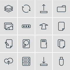 Vector Illustration Of 16 Storage Icons. Editable Pack Of Layer, Upward, Synchronize And Other Elements.