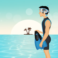 man makes snorkeling