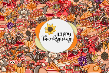 Happy Thanksgiving greeting card. Doodle background with typography. Vector illustration.