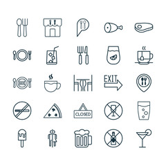 Restaurant Icons Set. Collection Of Alcohol Forbid, Fried Poultry, Cocktail And Other Elements. Also Includes Symbols Such As Juice, Chair, Smoking.